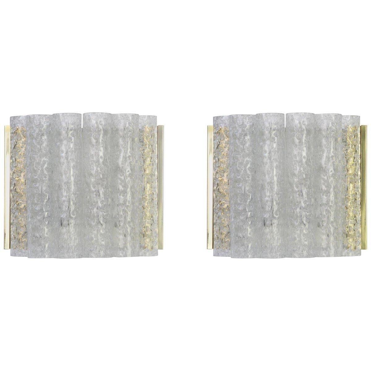 Wandlampen aus Messing & Eisglas von Doria, 1960er, 2er Set