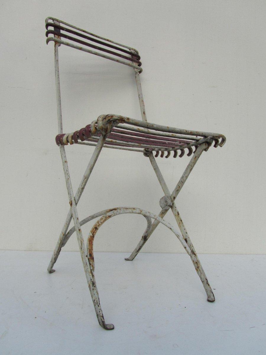 chaise de jardin pliante antique en fer forg en vente sur pamono. Black Bedroom Furniture Sets. Home Design Ideas