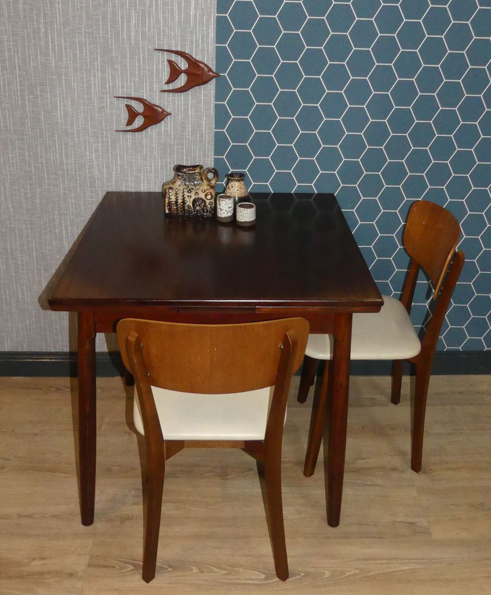petite table de salle manger extensible en bois 1960s. Black Bedroom Furniture Sets. Home Design Ideas