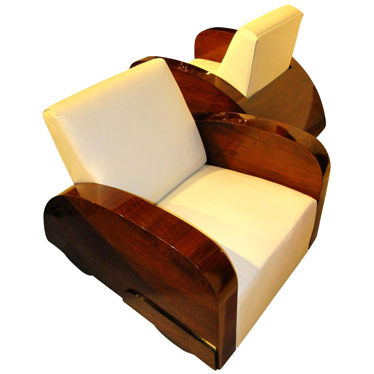 French Art Deco Club Chairs In Car Shape 1920s Set Of 2