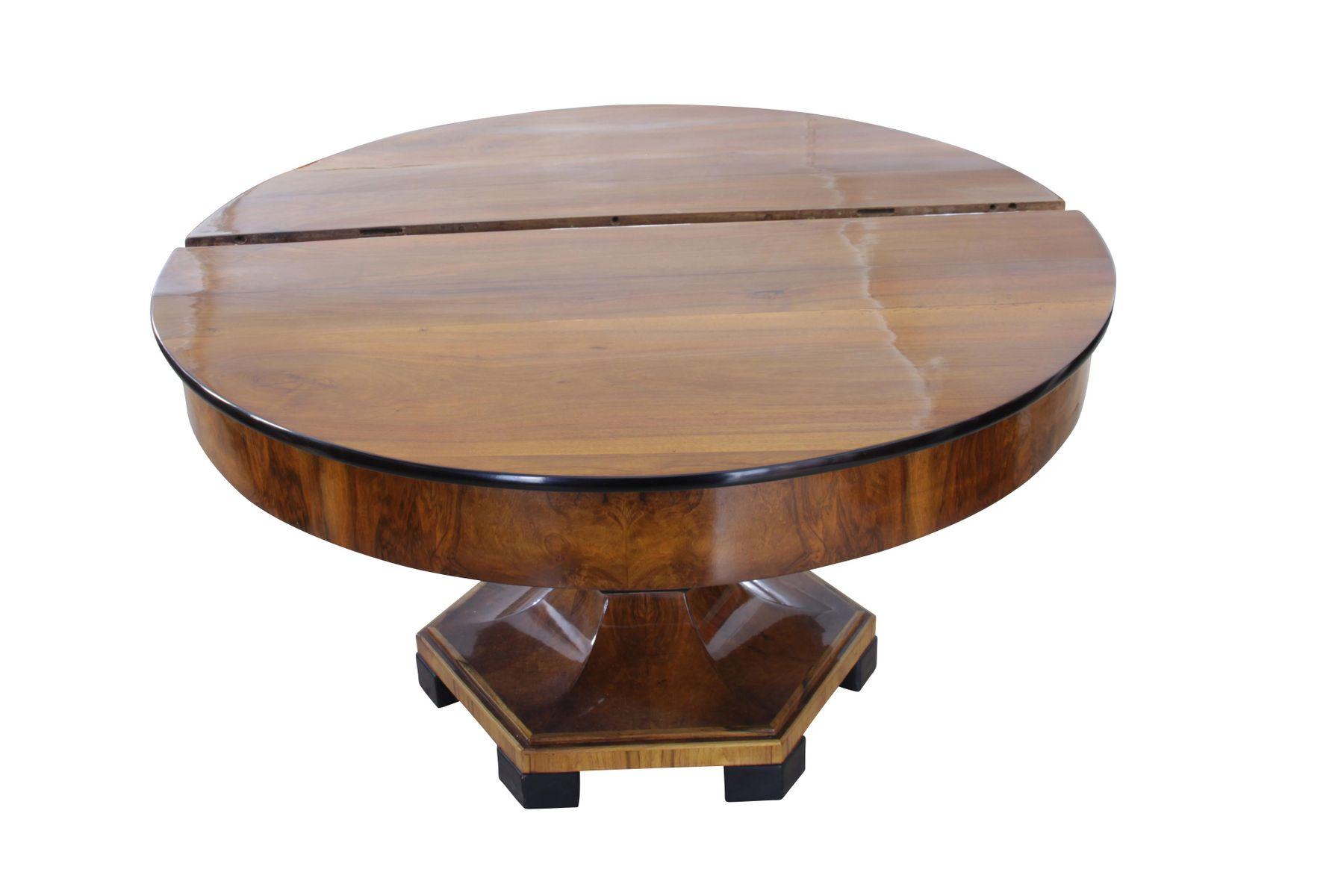 Large Expandable Walnut Biedermeier Table