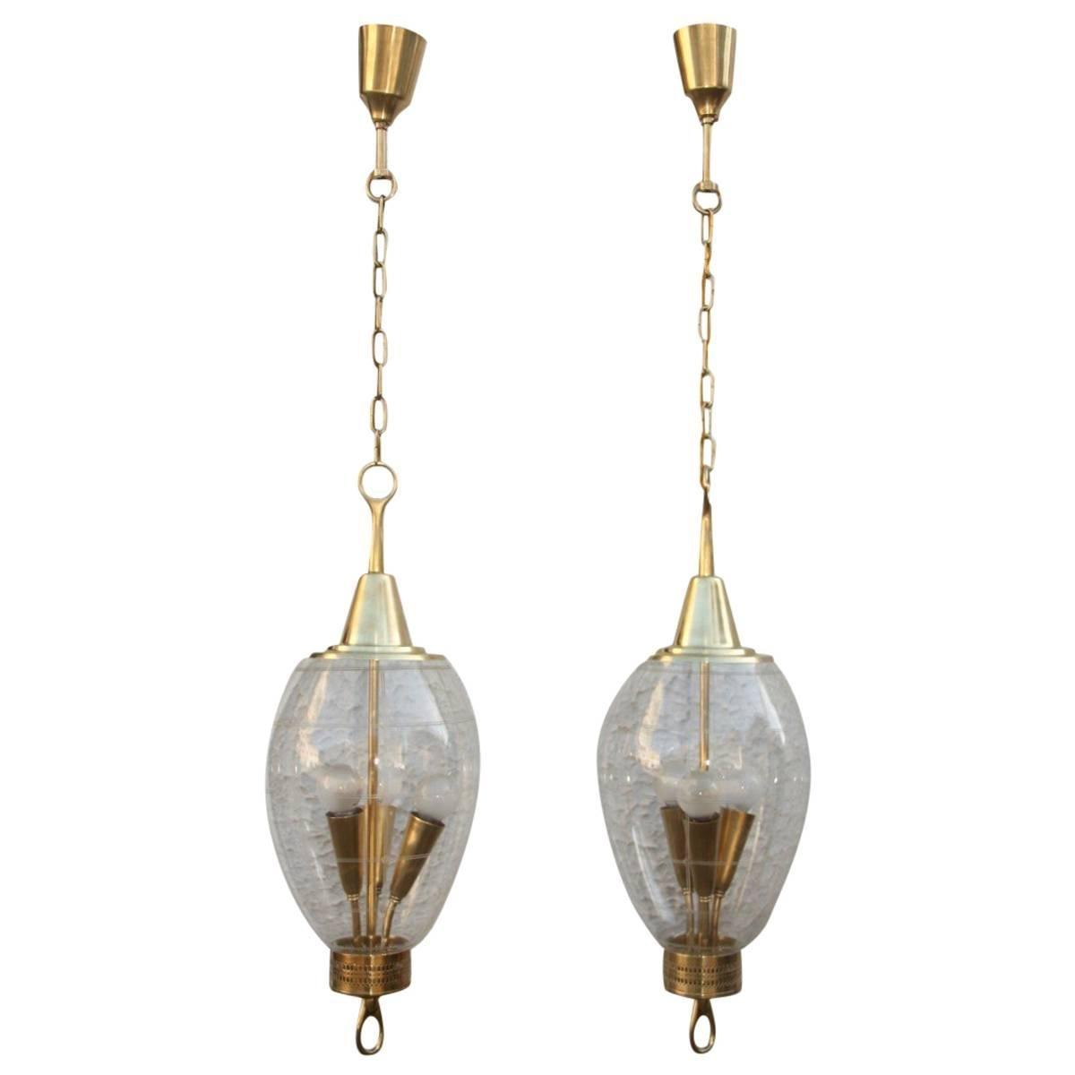 Vintage Deckenlampen von Pietro Chiesa für Fontana Arte, 1940er, 2er S...