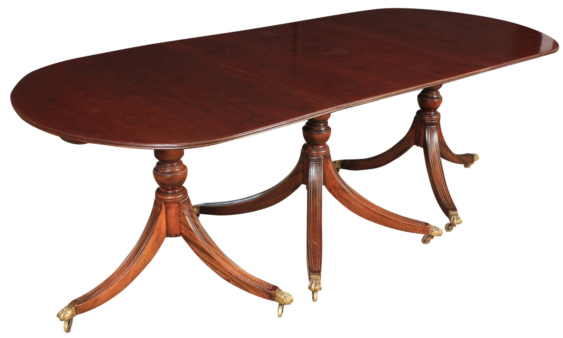Large Triple Pillar Mahogany Dining Table, 1920s