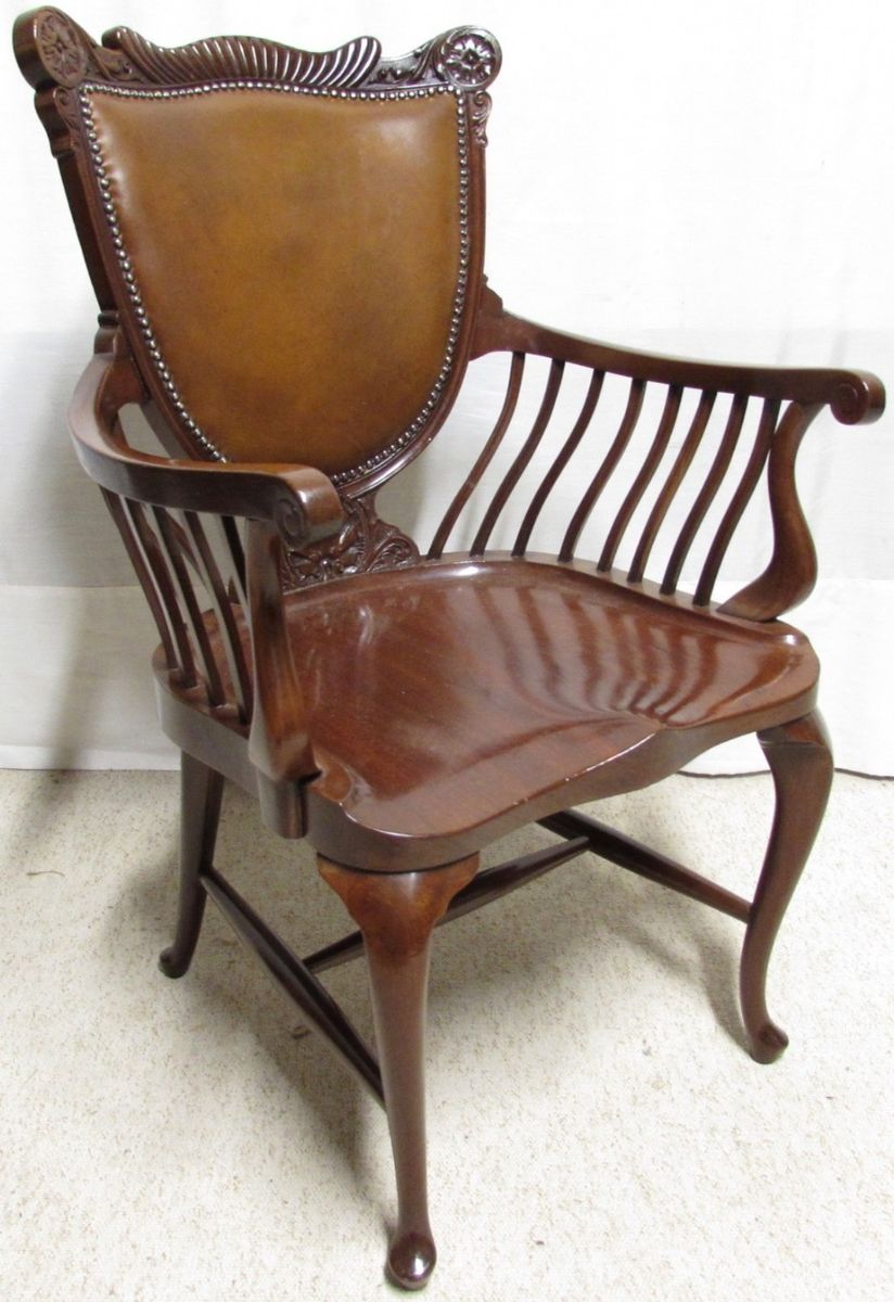 Awesome Mahogany And Leather Office Desk Chair 1890S Evergreenethics Interior Chair Design Evergreenethicsorg
