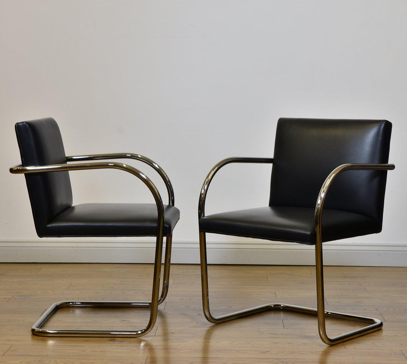 Chaise Brno Mies Van Der Rohe tubular steel & black leather brno chairsmies van der rohe for knoll,  1980s, set of 2
