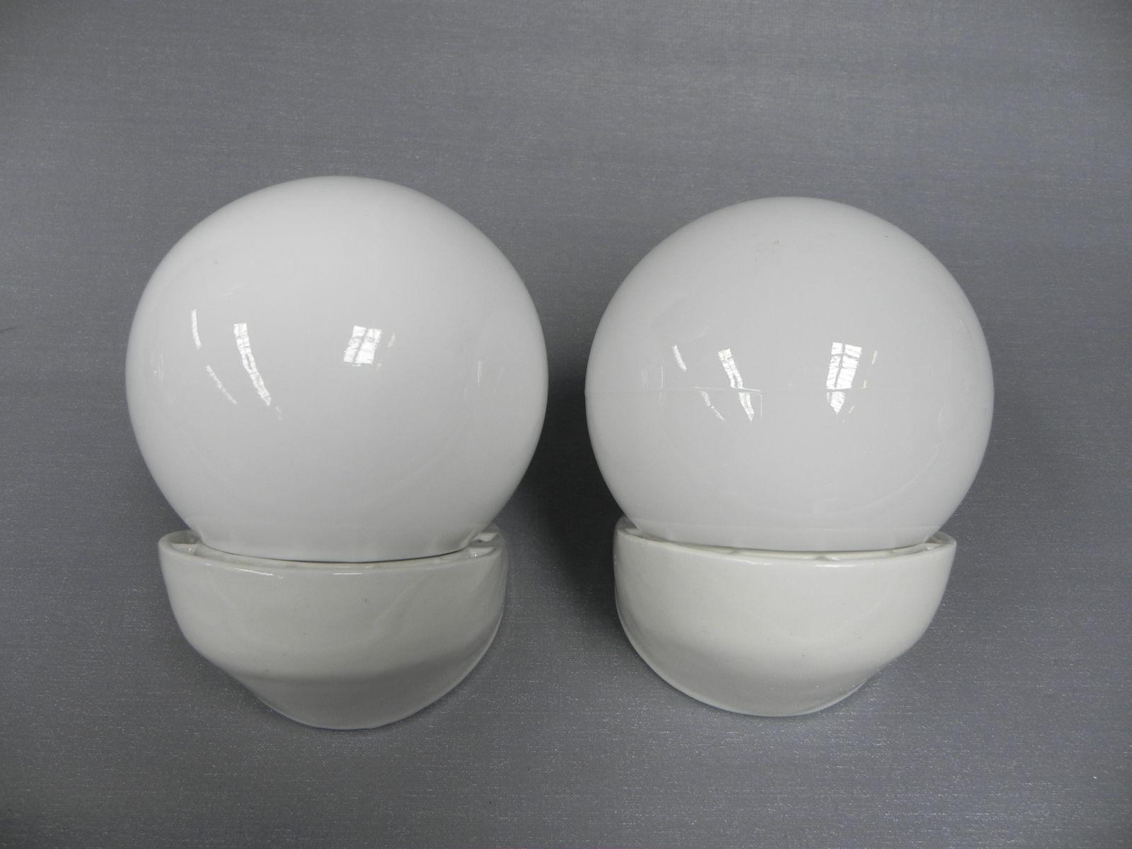 Vintage Wandlampen aus Glas & Porzellan, 1950er, 2er Set