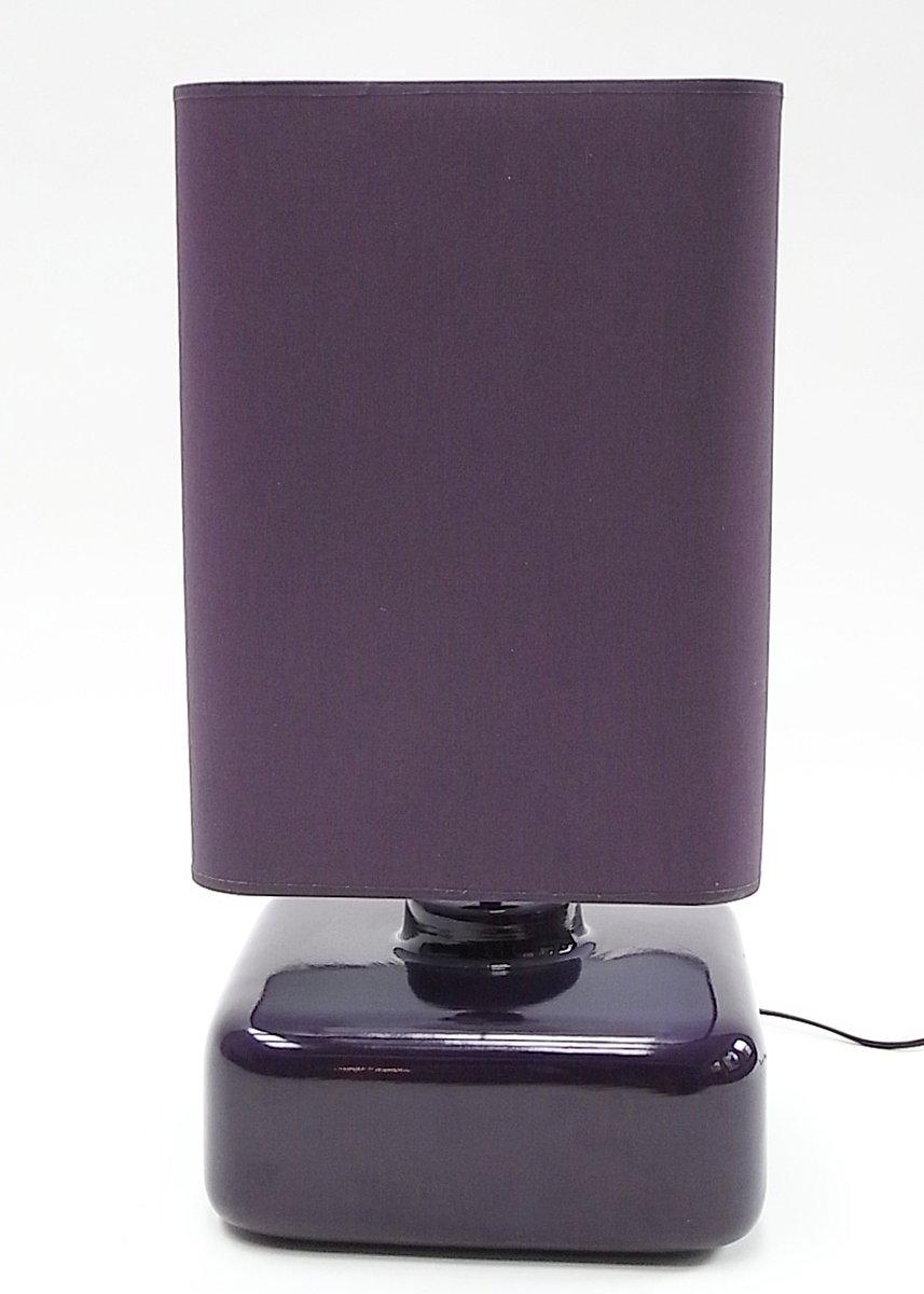 Violette Quadra Tischlampe aus Keramik mit Schirm aus Baumwolle, 1970e...