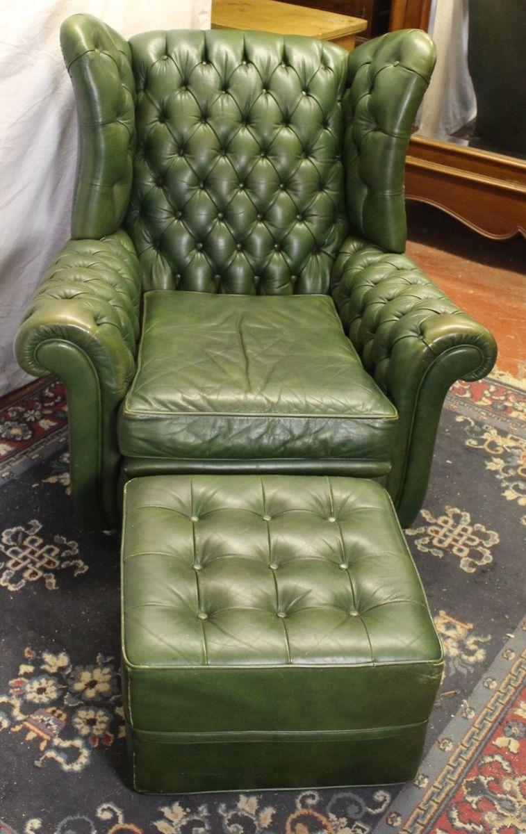 fauteuil oreilles en cuir vert avec tabouret 1960s en. Black Bedroom Furniture Sets. Home Design Ideas