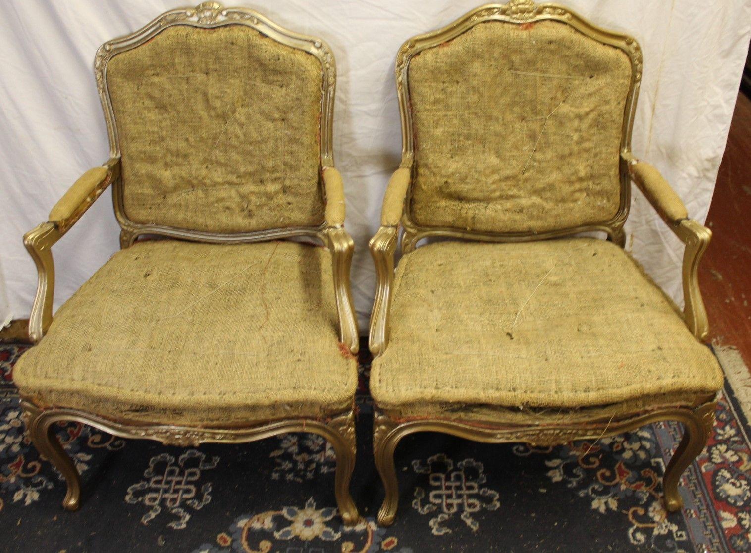 Vergoldeter Vintage Sessel, 1940er, 2er Set