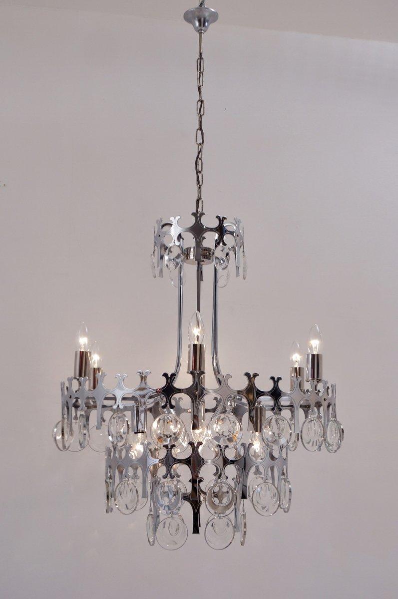 Ovali Kronleuchter aus Chrom & Kristallglas mit 12 Leuchtstellen von G...
