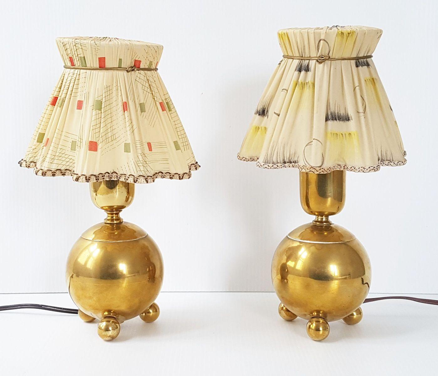 Französische Mid-Century Tischlampen aus vergoldetem Messing, 1950er, ...