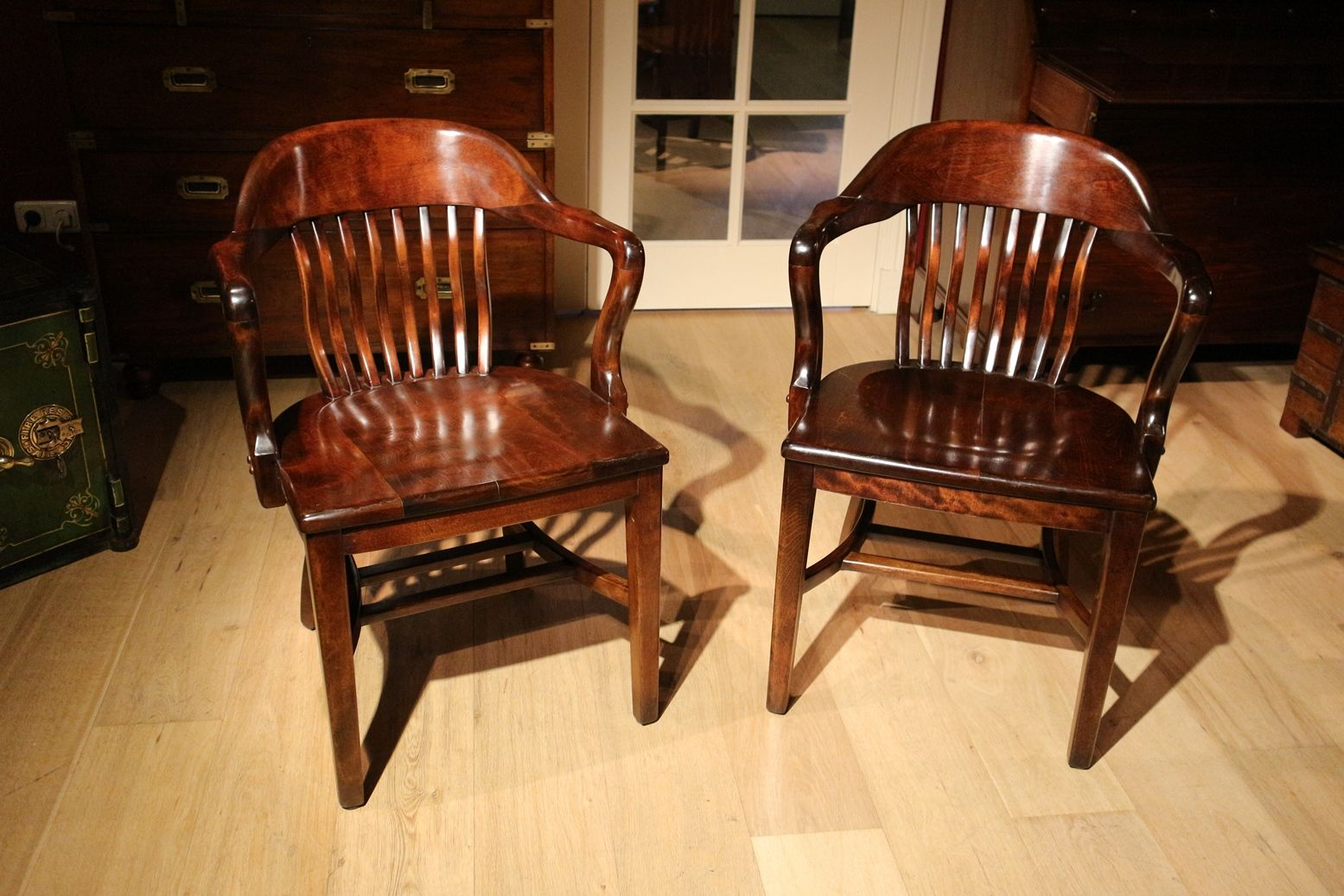 Antique Mahogany Office Chairs, Set of 2