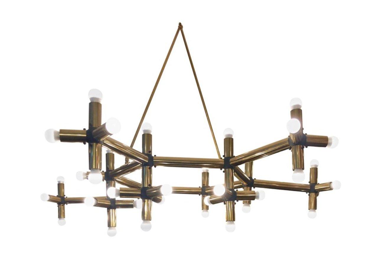Große französische geometrische Deckenleuchten aus Messing, 2er Set