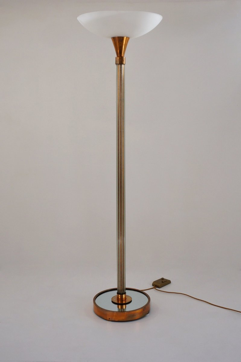Vintage Art Deco Glass & Copper-Plated Brass Floor Lamp, 1930s