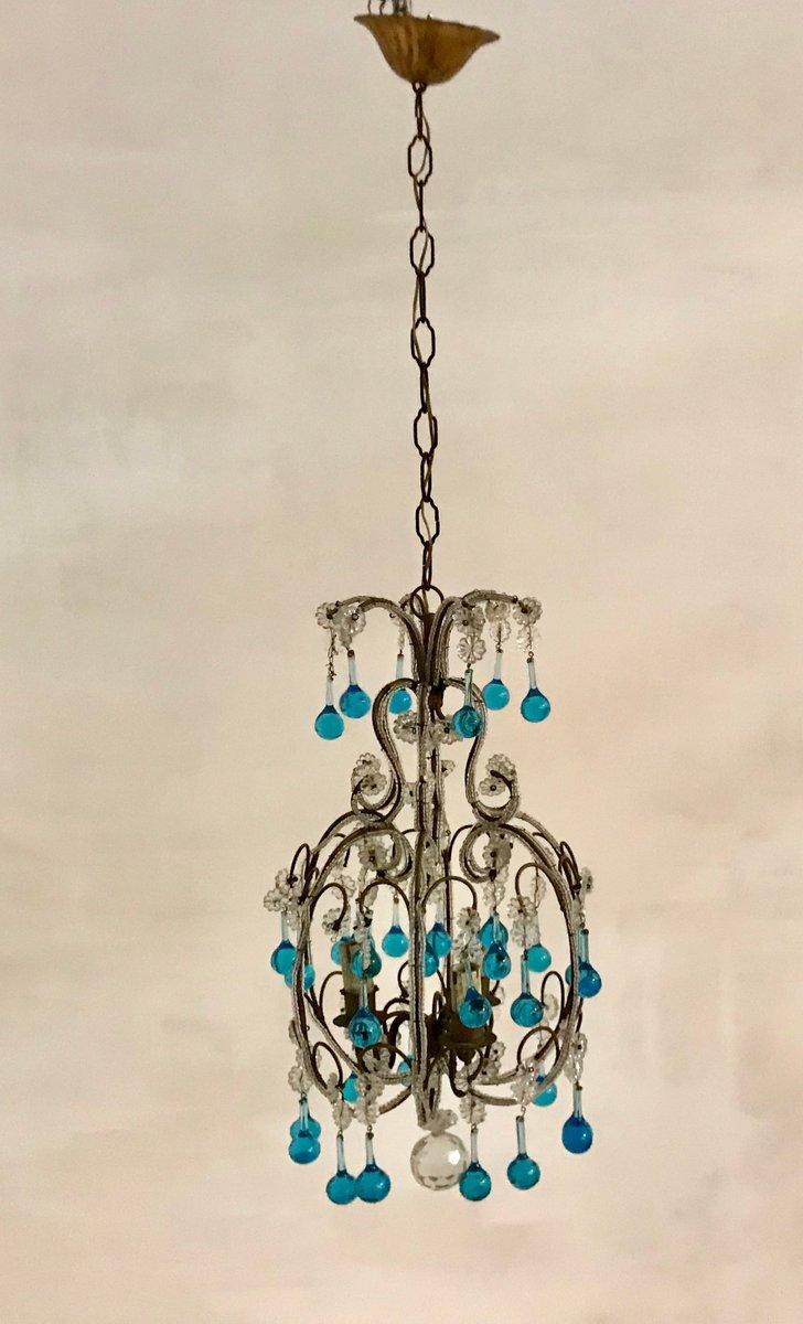 Blauer Vintage Murano Kronleuchter mit Anhängern aus Kristallglas