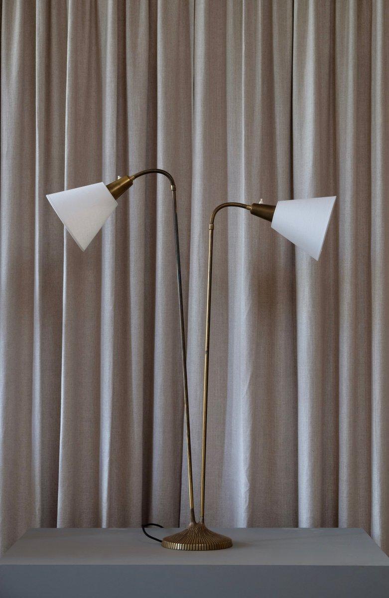 Swedish Brass Floor Lamp by Sonja Katzin for ASEA, 1950s