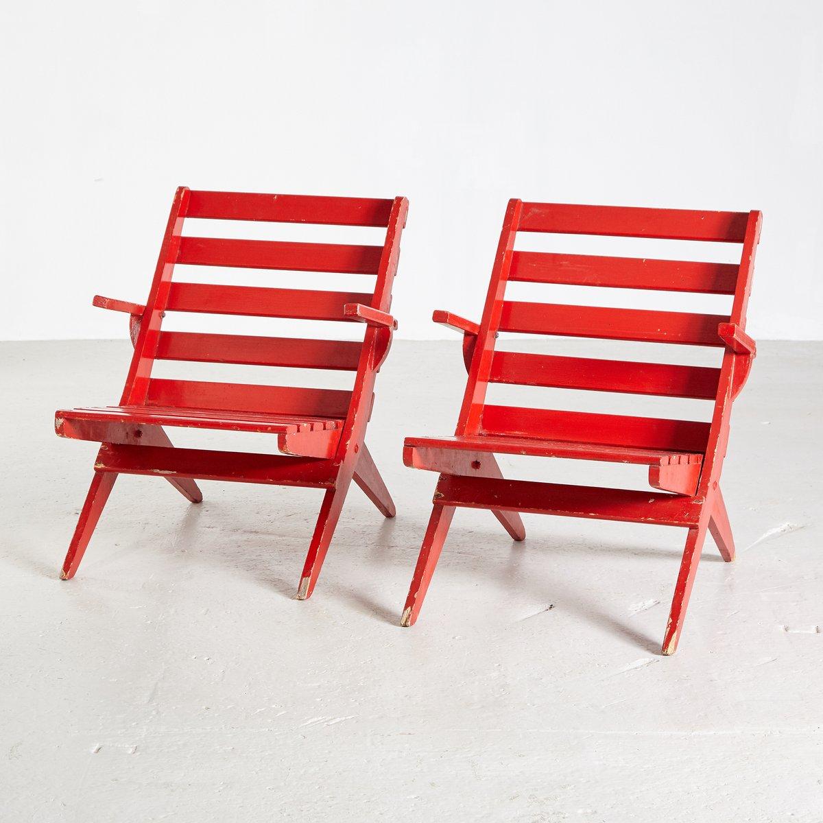 chaise de jardin pliante vintage rouge 1970s en vente sur. Black Bedroom Furniture Sets. Home Design Ideas