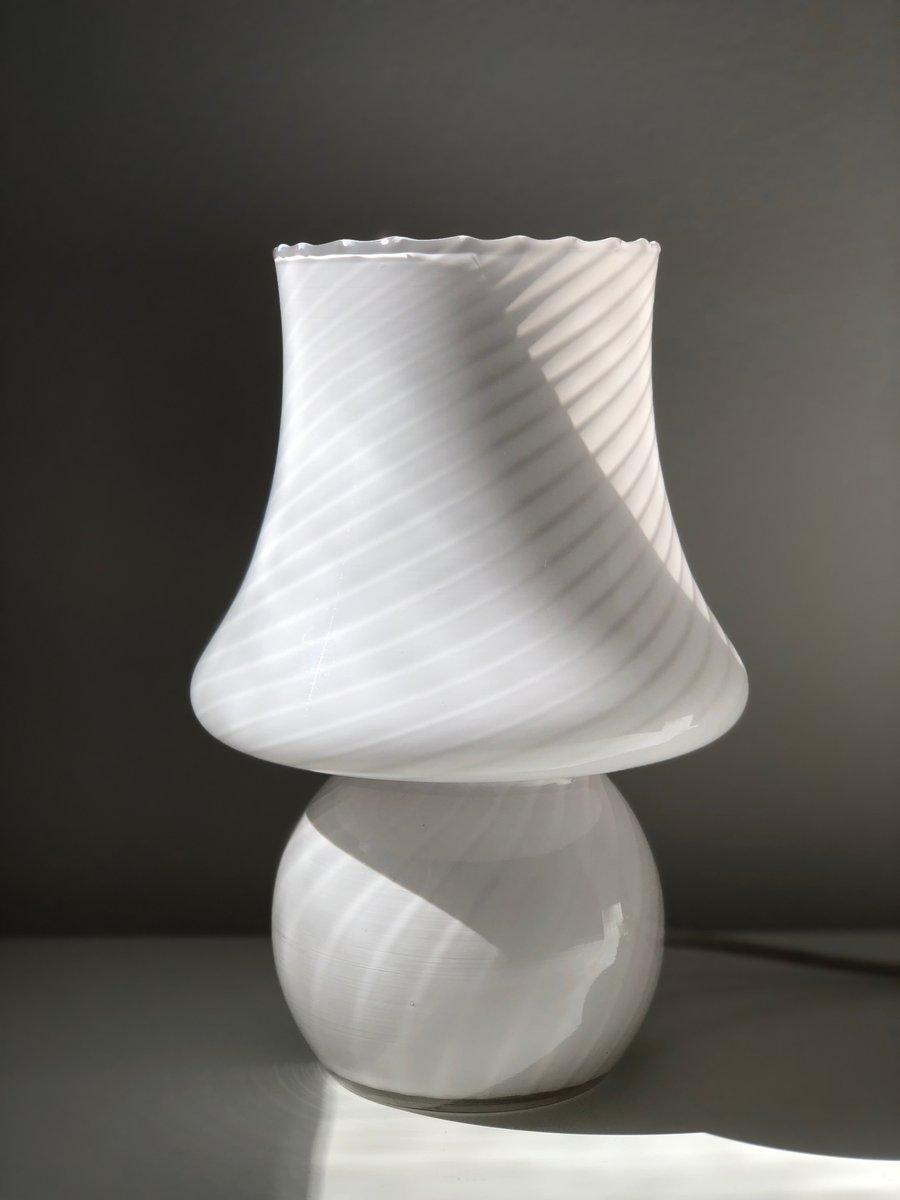 White Murano Glass Mushroom Table Lamp, 1970s