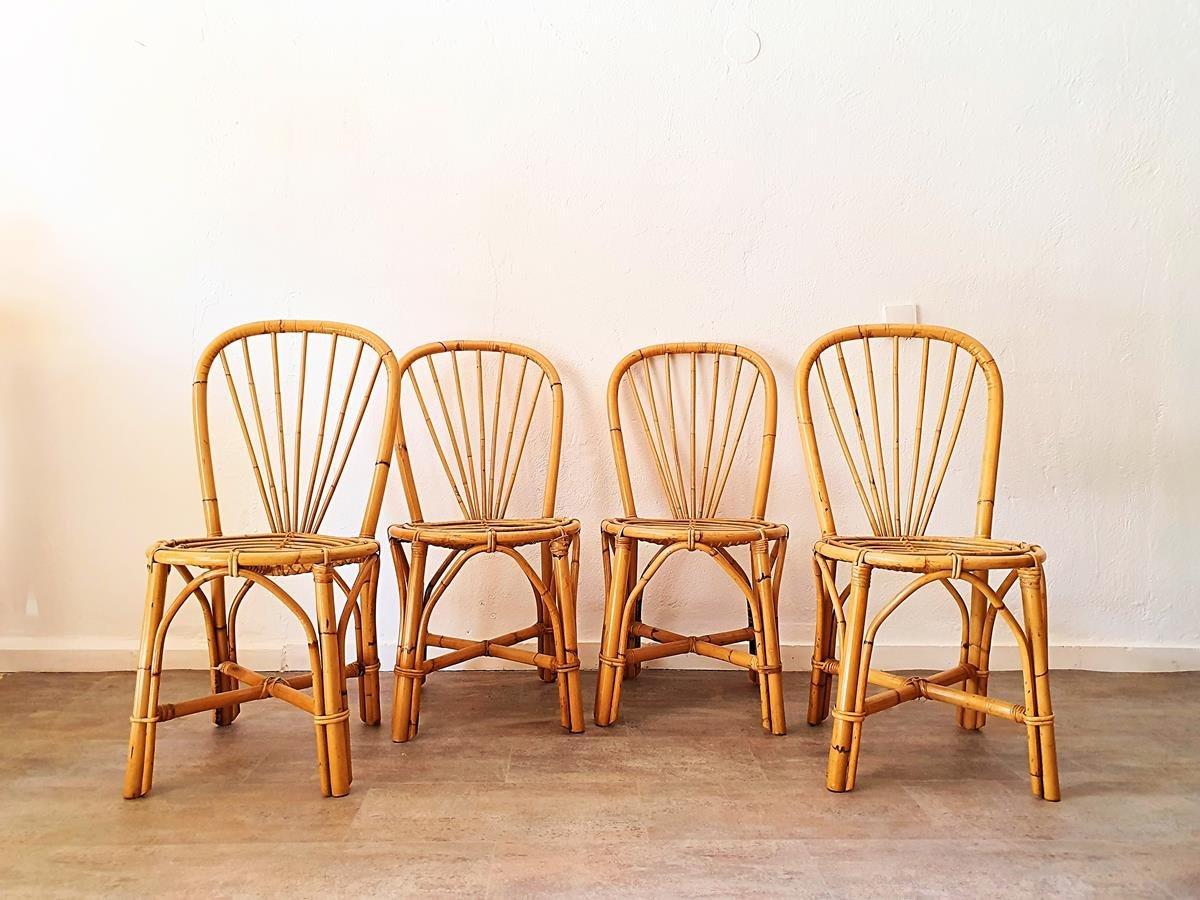 Stühle Aus Bambus 1970er 4er Set Bei Pamono Kaufen