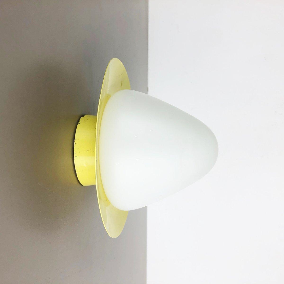 Mid-Century Wandlampe aus Opalglas & Metall von Bega, 1950er