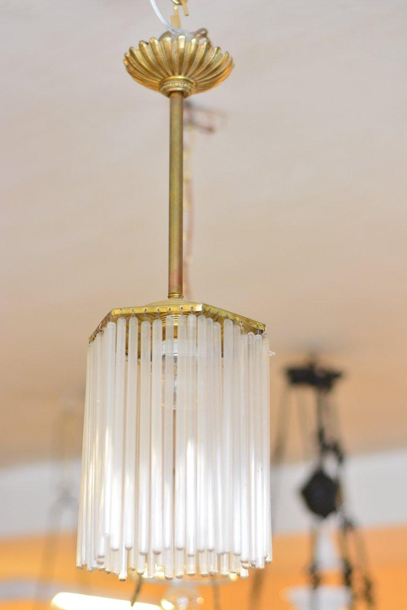 Mid-Century Lampe aus Bronze & Kristallglas, 1950er