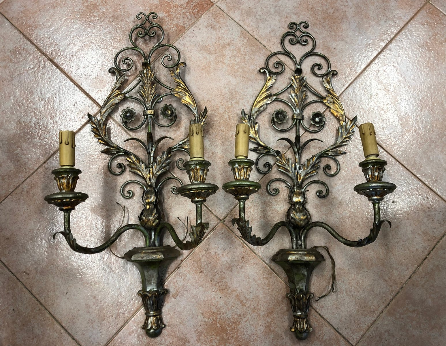 Antique Lacquered Wood Wrought Iron Wall Lights Set Of 2 For Sale At Pamono