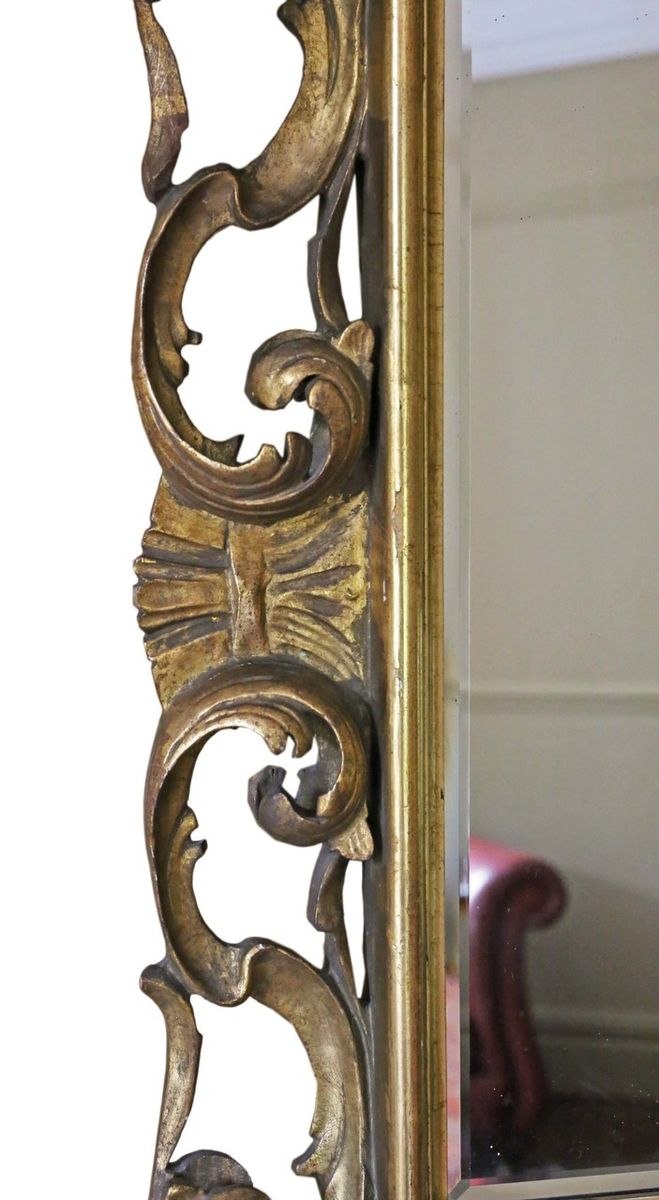19th Century Italian Gilt Overmantle Or Wall Mirror For