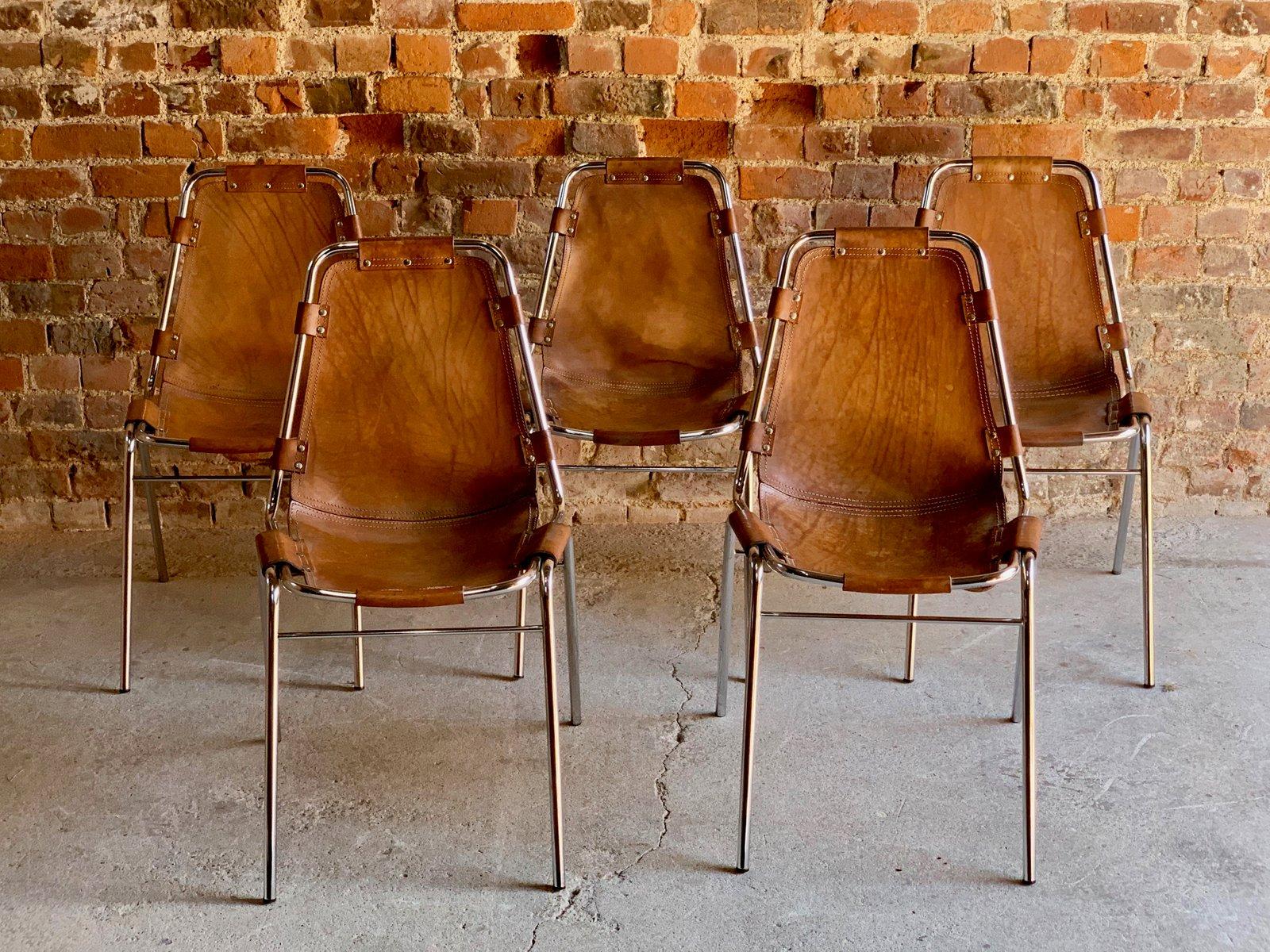 Chaises de salle manger les arcs en cuir par charlotte perriand pour cassina 1970 set de 5 - Salle de bain charlotte perriand ...