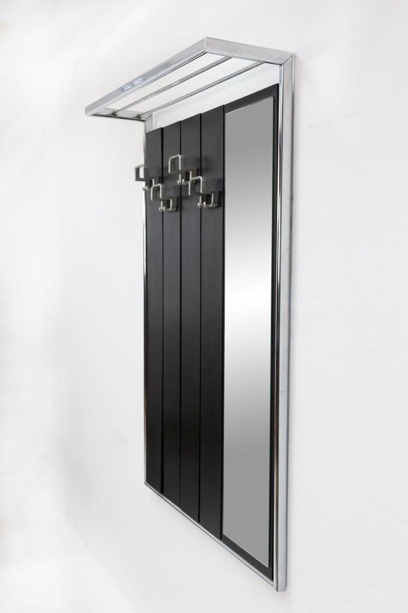 garderobe aus ebonisiertem holz chrom mit spiegel. Black Bedroom Furniture Sets. Home Design Ideas