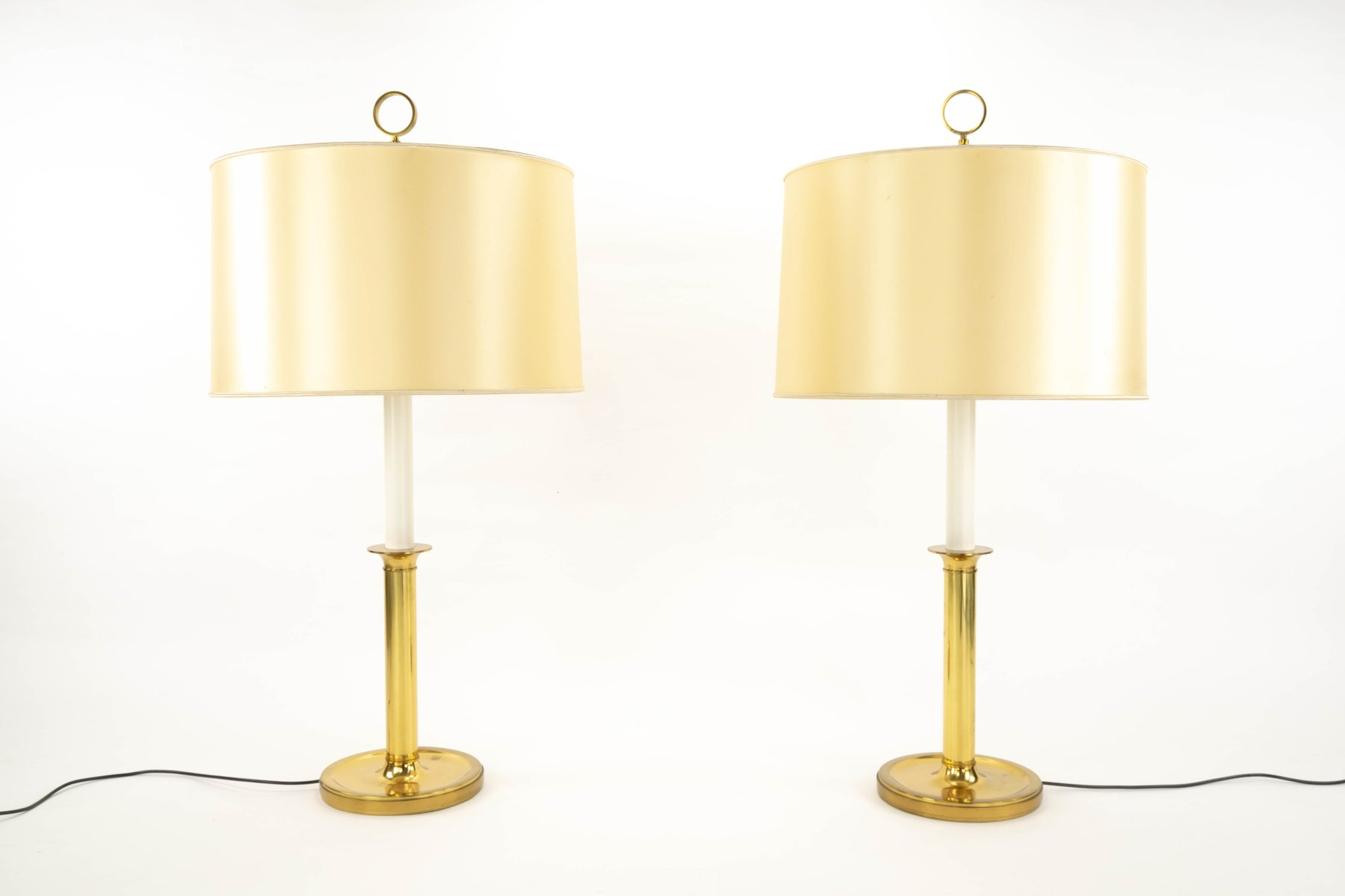 Vintage Gilded Brass Lamps by G.W. Hansen for Metalarte, Set of 2