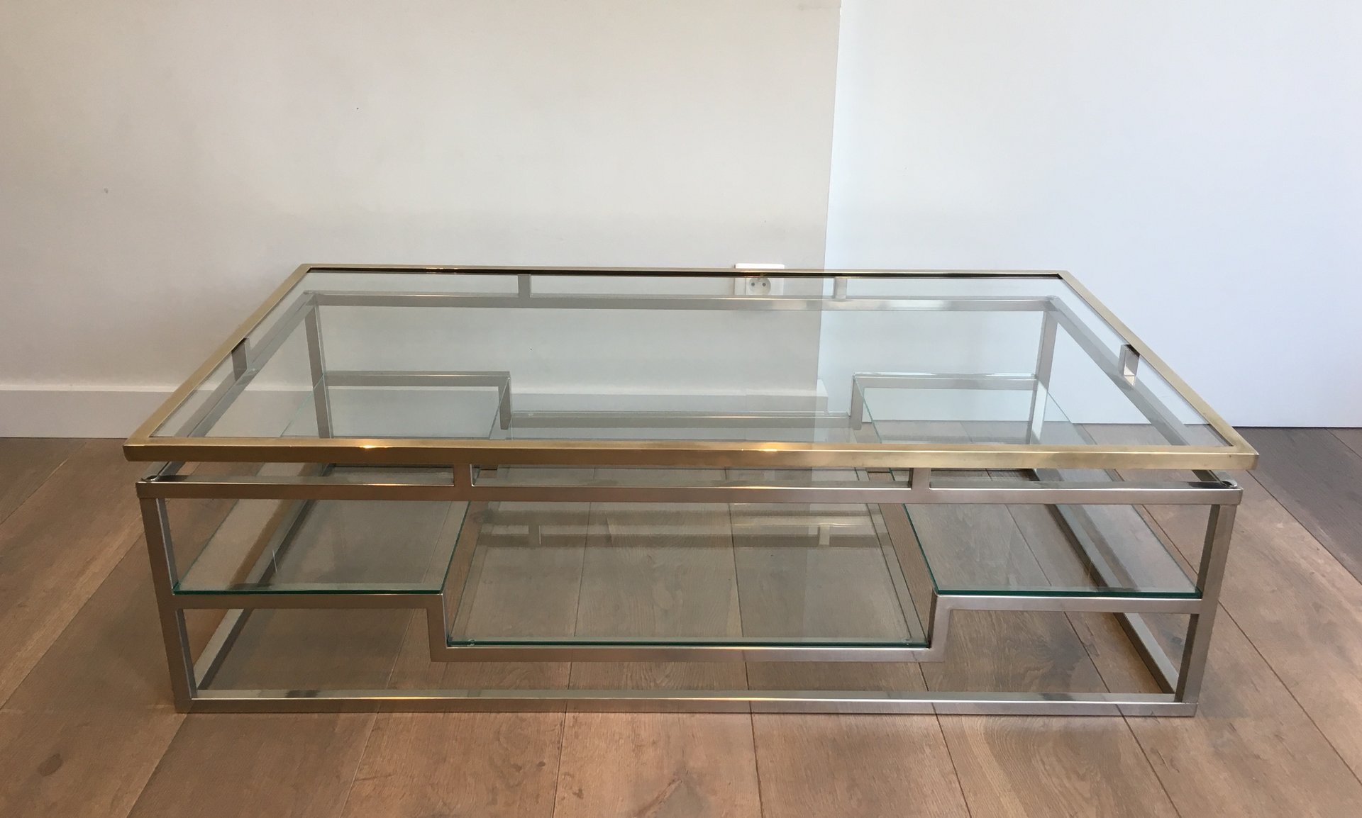 unusual design chrome and brass coffee table french circa 1970