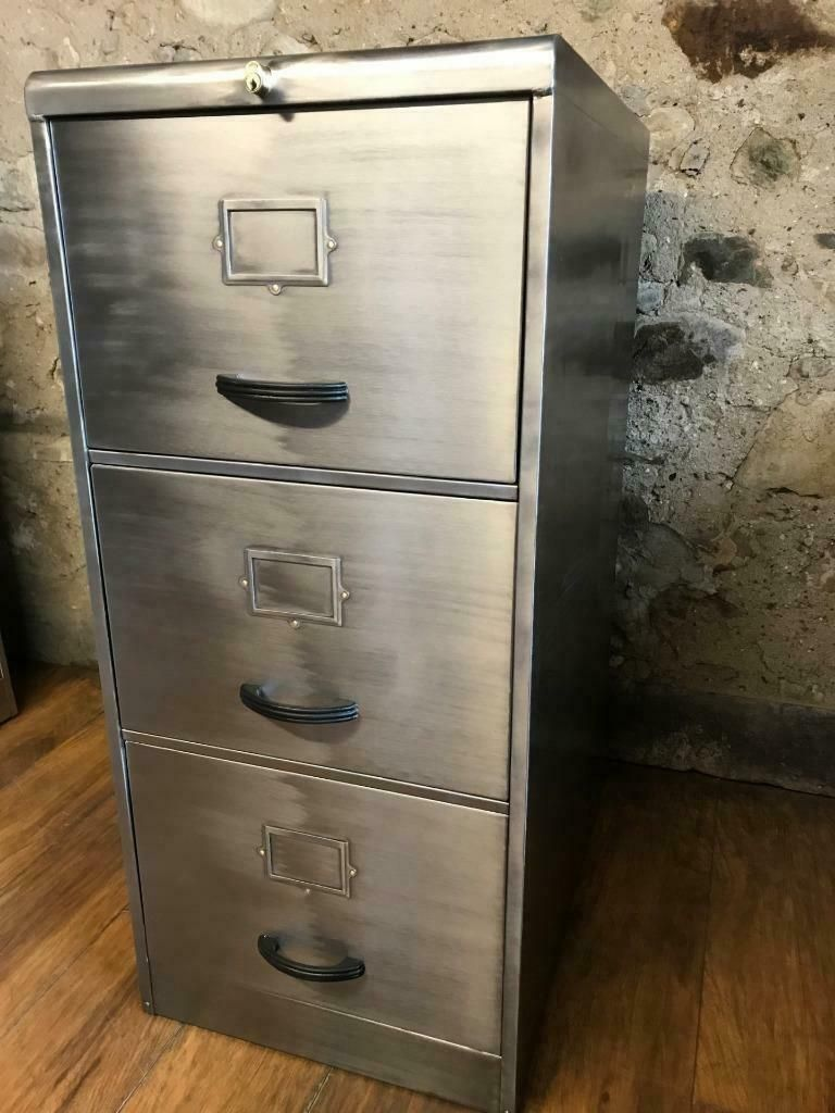 Vintage Industrial Metal Filing Cabinet With 3 Drawers For