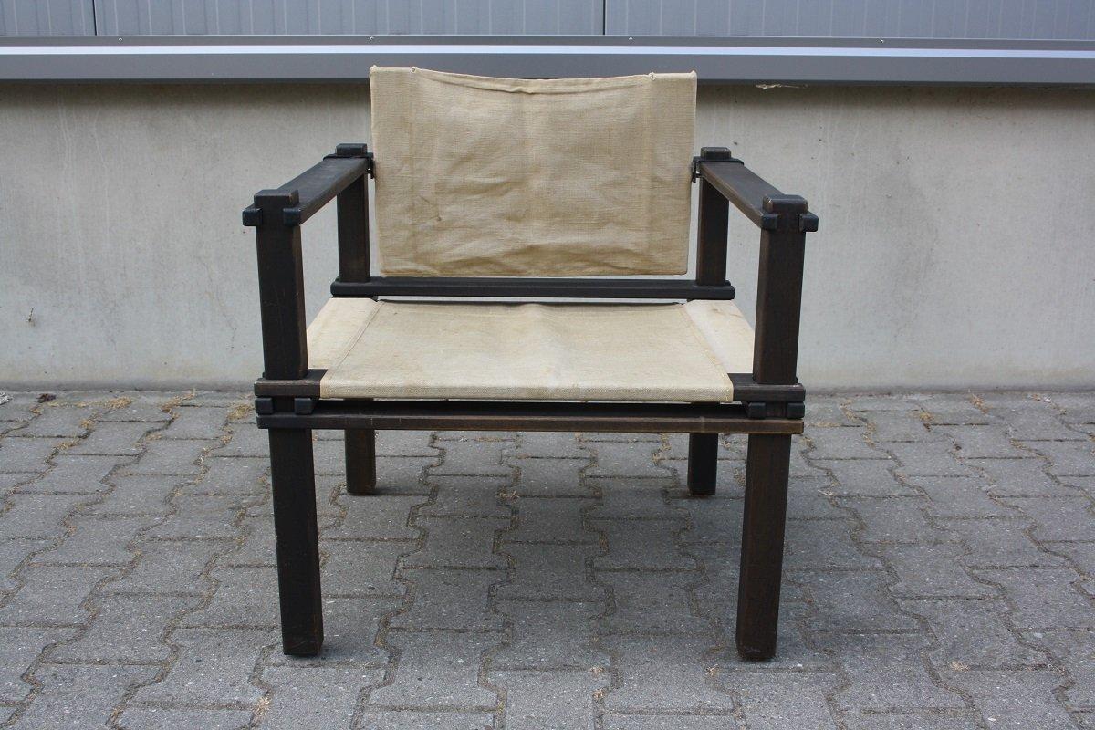 Armlehnstuhl aus Holz & Leinen von Gerd Lange für Bofinger, 1960er