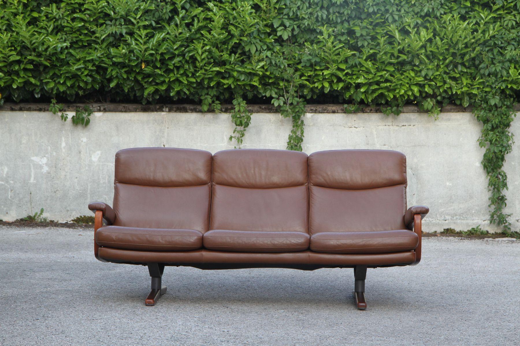 Sofa aus Leder, Stahl & Holz, 1950er bei Pamono kaufen
