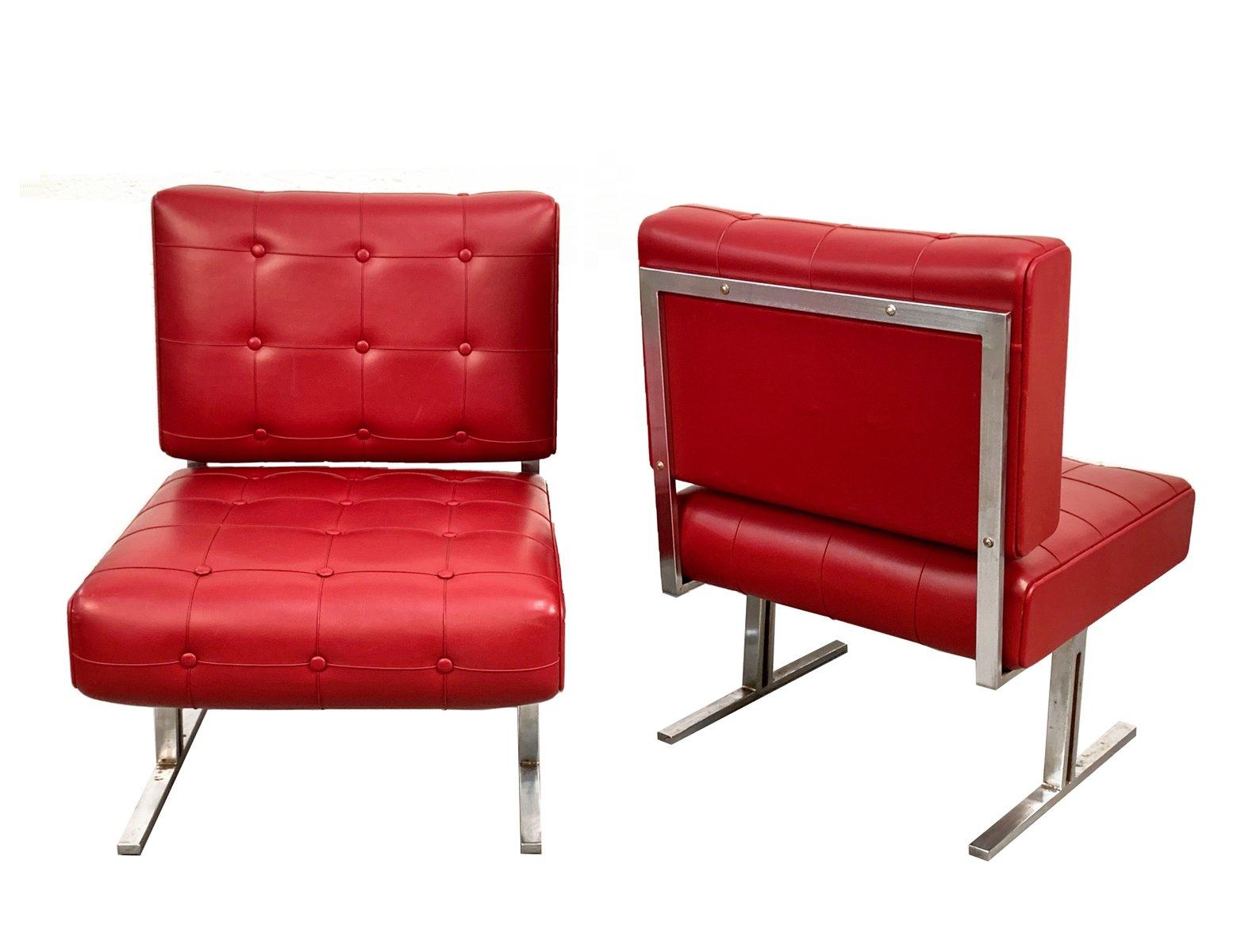 Italienische Sessel Aus Rotem Kunstleder Stahl 1950er