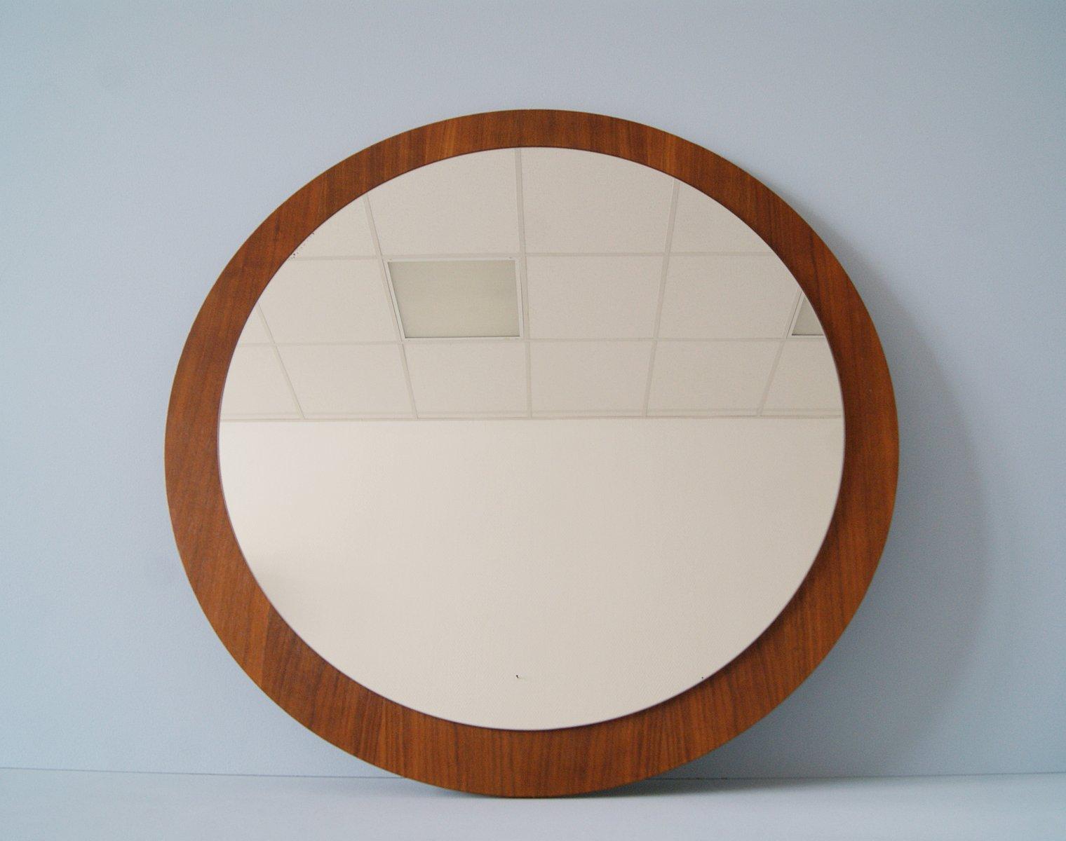 Großer Runder Spiegel Mit Rahmen Aus Teakholz 1960er