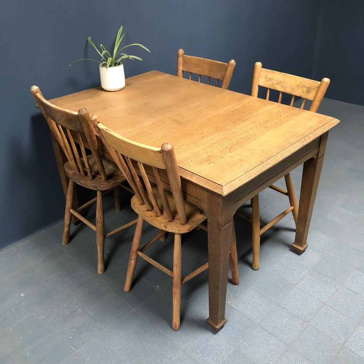 French Light Oak Kitchen Table, 1940s