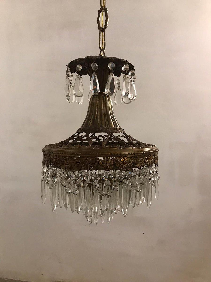 Art Deco Italian Crystal Chandelier, 1930s