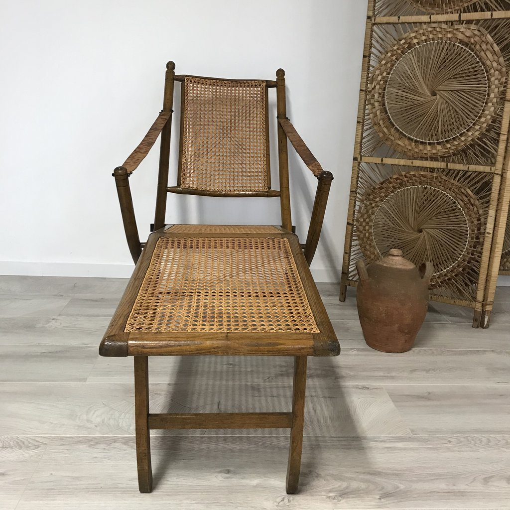 Antique Caned Chaise Lounge For Sale At Pamono
