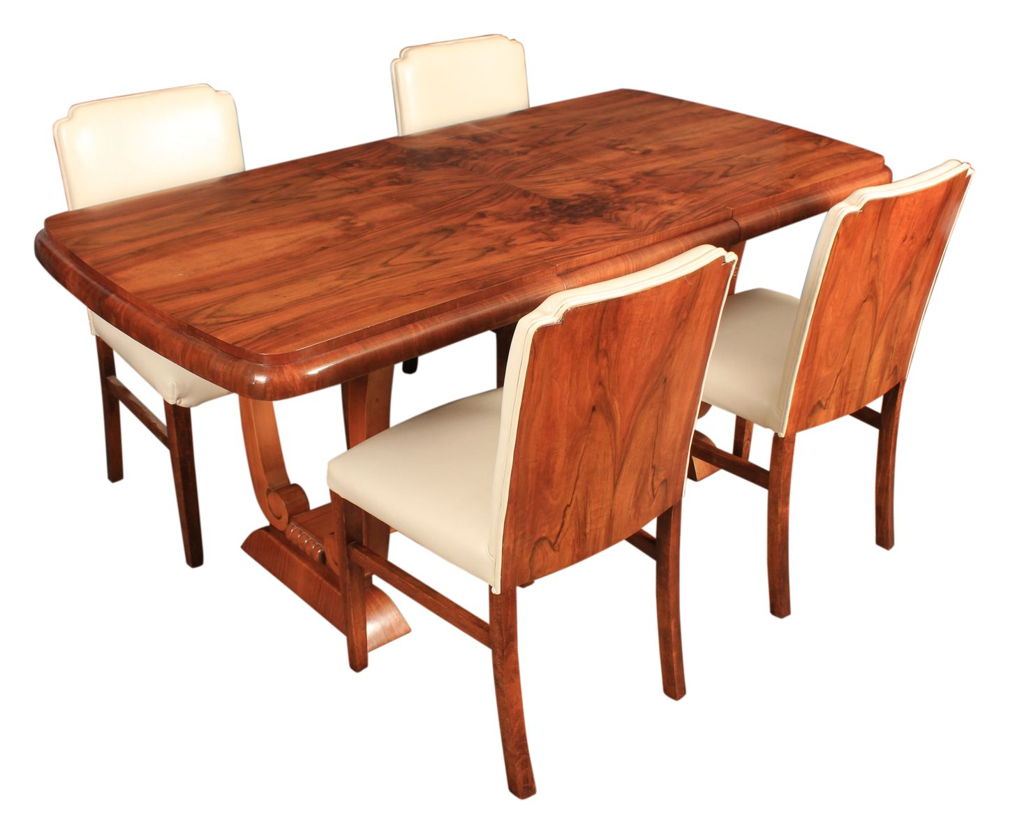 Awe Inspiring Art Deco Leather Walnut Dining Table Set 1920S Cjindustries Chair Design For Home Cjindustriesco