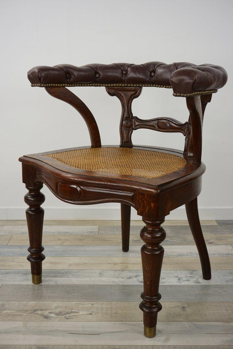 Sedia da scrivania in pelle, legno e canna, XIX secolo in ...