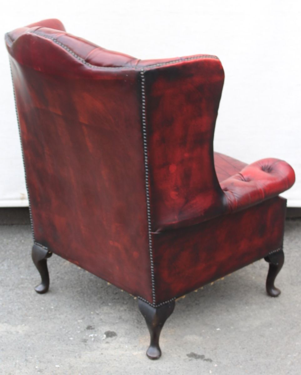 Magnificent Mid Century Red Leather Wing Back Armchair 1960S Short Links Chair Design For Home Short Linksinfo