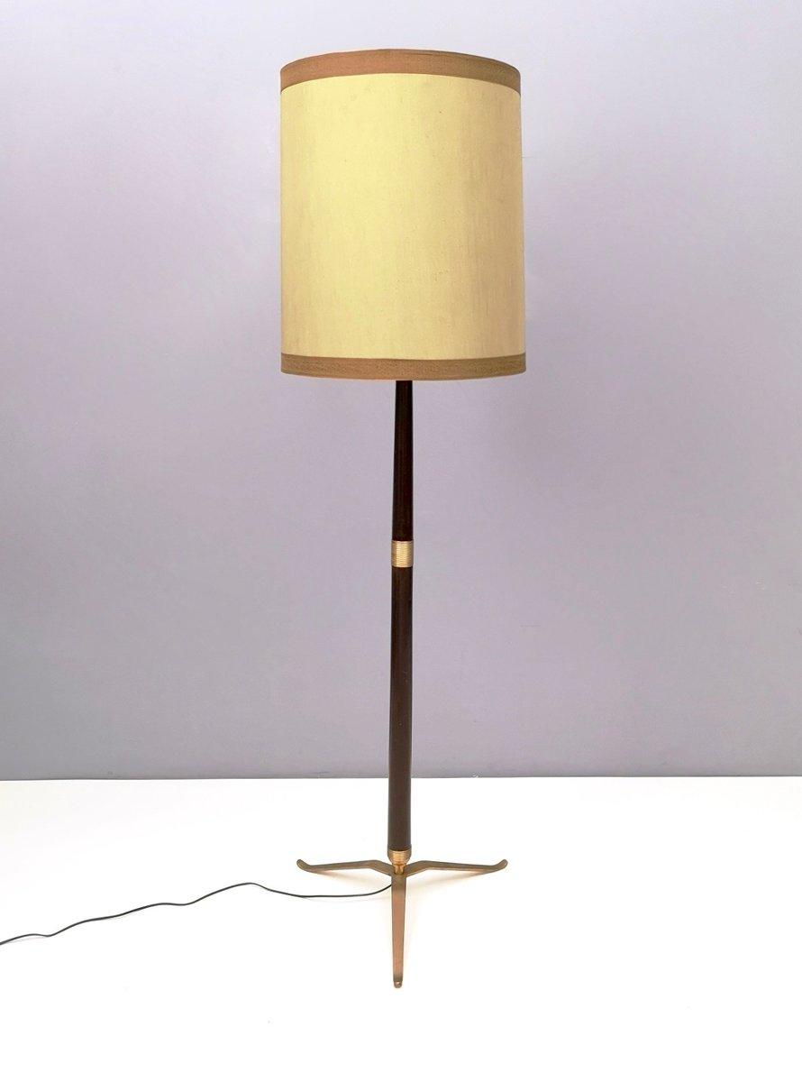 Italienische Mid Century Stehlampe Aus Holz Messing Lackiertem