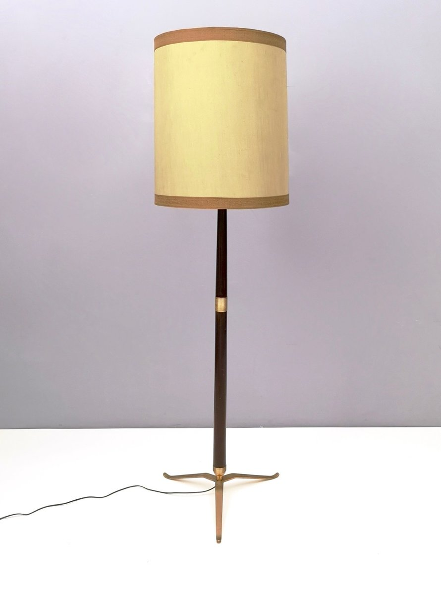 Mid Century Italian Wood Brass Varnished Metal Floor Lamp 1950s