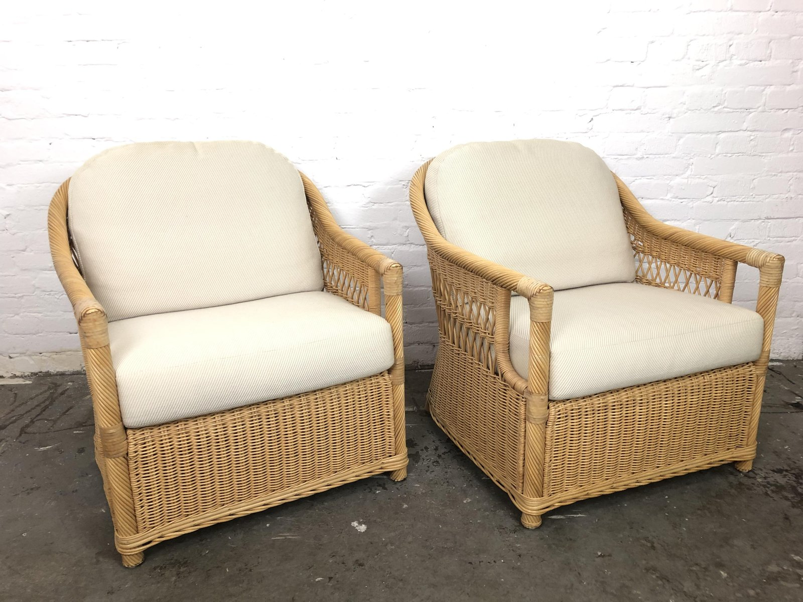 Miraculous Vintage Rattan Lounge Chairs Set Of 2 Beatyapartments Chair Design Images Beatyapartmentscom
