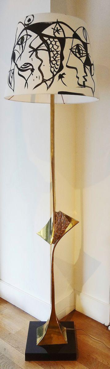 Messing Stehlampe von Claude Santarelli, 1975