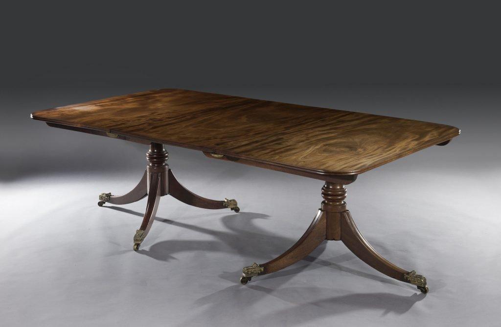 18th Century George Iii Mahogany Twin Pedestal Dining Table