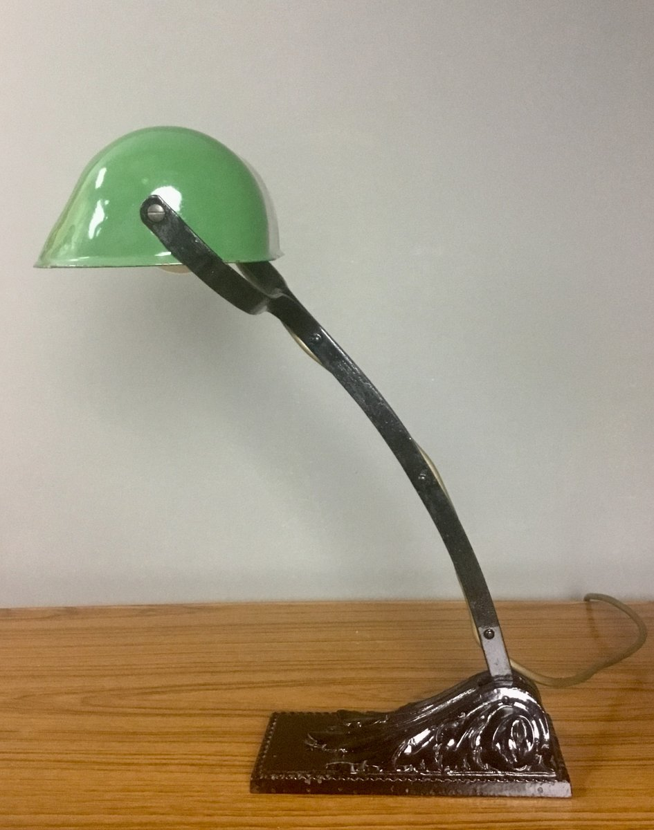 French Chrome Lamp Adjustable French Desk Lamp Side Lamp French Office Lamp Vintage French Lighting French Art Deco Bankers Lamp