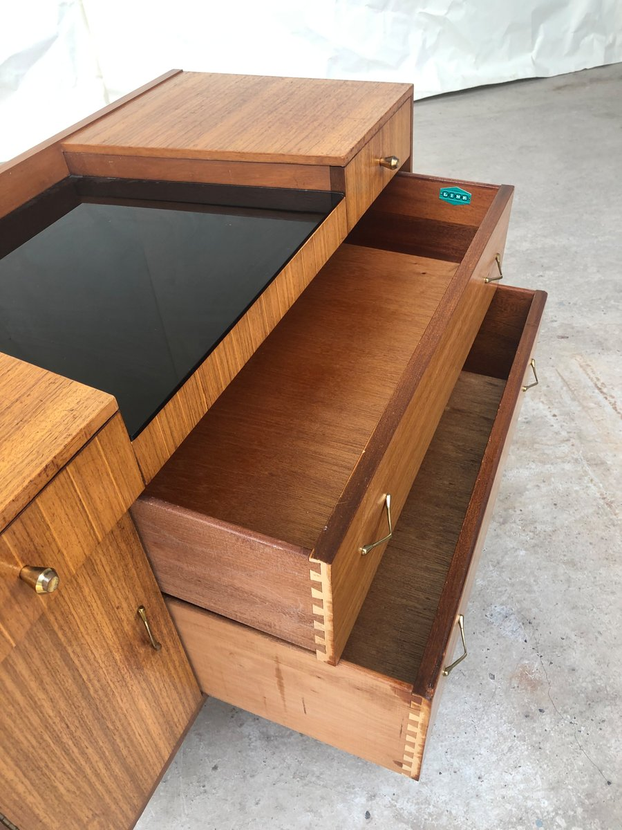 mid century kommode aus walnussholz von lebus 1950er bei. Black Bedroom Furniture Sets. Home Design Ideas