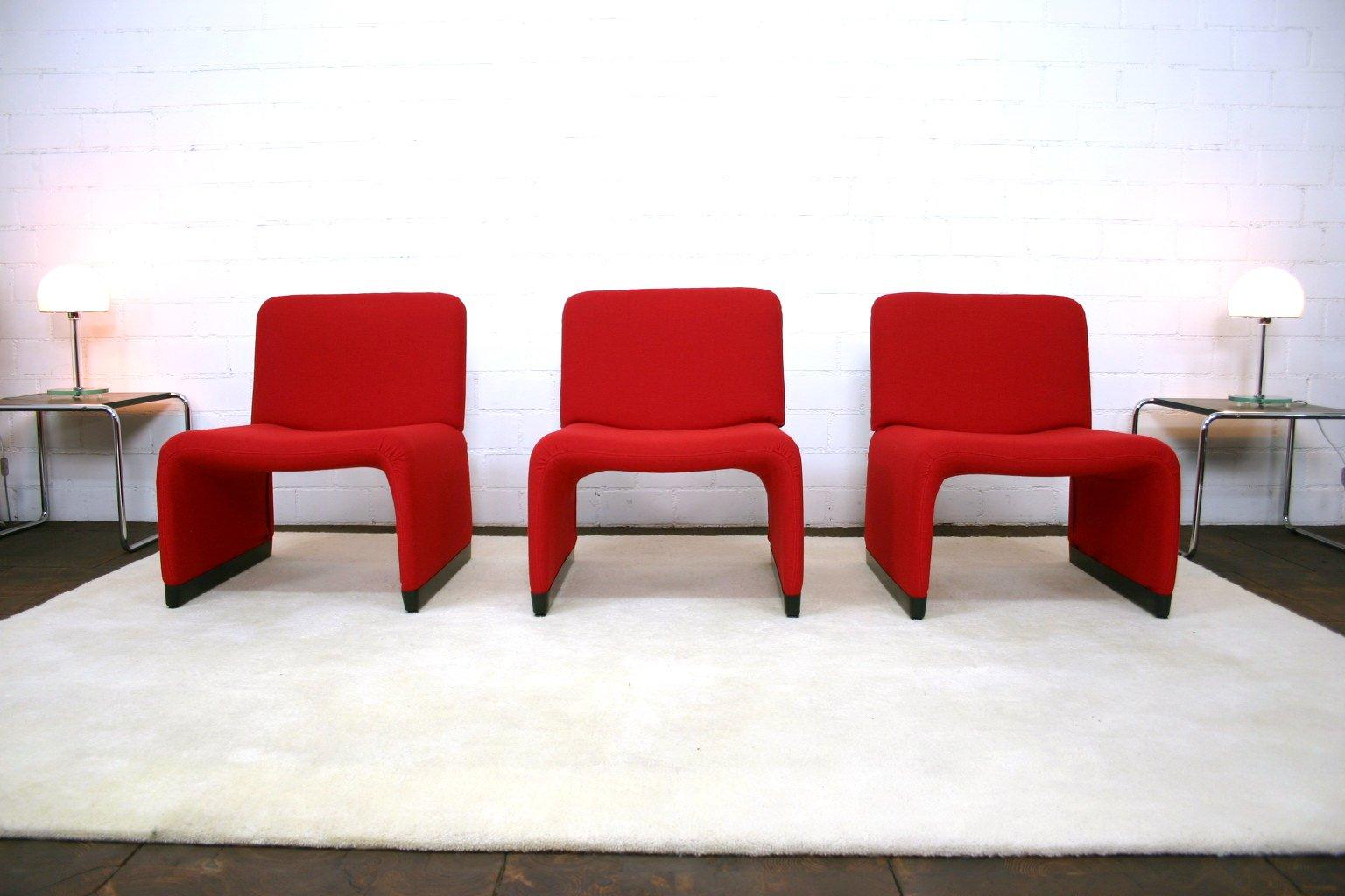 Roter Lounge Sessel mit Hopsak Bezug von Giancarlo Piretti für Castell...